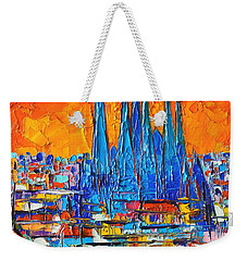 Barcelona Abstract Cityscape 7 - Sagrada Familia Weekender Tote Bag by Ana Maria Edulescu