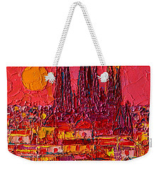 Barcelona Moon Over Sagrada Familia - Palette Knife Oil Painting By Ana Maria Edulescu Weekender Tote Bag by Ana Maria Edulescu