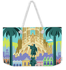 Barcelona Retro Travel Poster Weekender Tote Bag