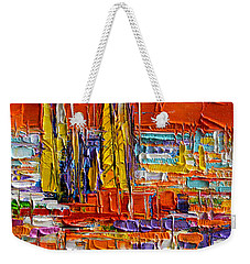 Barcelona Sagrada Familia View From Parc Guell Abstract Palette Knife Oil Painting Weekender Tote Bag