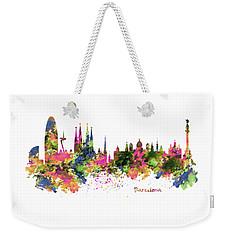 Barcelona Watercolor Skyline Weekender Tote Bag by Marian Voicu