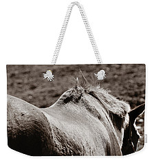 Weekender Tote Bag featuring the photograph Bareback by Angela Rath