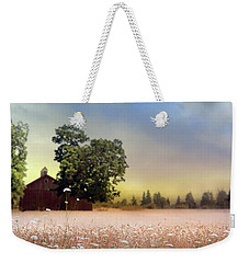 Weekender Tote Bag featuring the photograph Barn And Lace by Rebecca Cozart