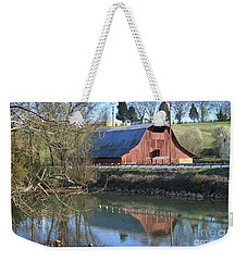 Weekender Tote Bag featuring the photograph Barn And Reflections by Todd Blanchard
