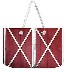 Weekender Tote Bag featuring the photograph Red Barn Doors by Sheila Brown