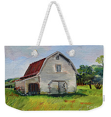 Weekender Tote Bag featuring the painting Barn-harrison Park, Ellijay-pinson Barn by Jan Dappen