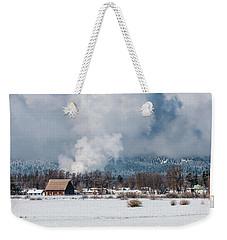 Barn In Winter Weekender Tote Bag