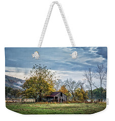 Barn On A Misty Morning Weekender Tote Bag by James Barber
