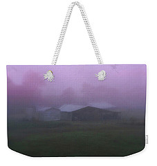 Barn On A Misty Morning Weekender Tote Bag