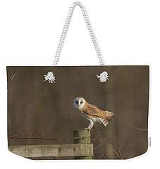 Barn Owl On Fence Weekender Tote Bag