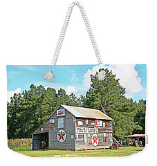 Weekender Tote Bag featuring the photograph Barn Signs by Linda Brown