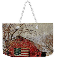 Barn With Flag In Winter Weekender Tote Bag