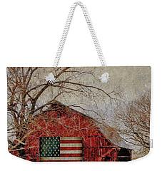 Barn With Flag In Winter Weekender Tote Bag