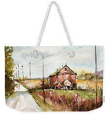 Barns And Electric Poles, Sunday Drive Weekender Tote Bag by Judith Levins