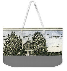 Weekender Tote Bag featuring the mixed media Barnstable Yacht Club Etching by Charles Harden