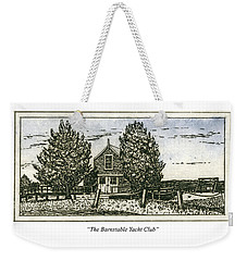 Weekender Tote Bag featuring the mixed media Barnstable Yacht Club Greeting Card by Charles Harden