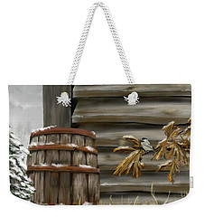 Weekender Tote Bag featuring the digital art Barnyard Barrel And Chickadee by Darren Cannell