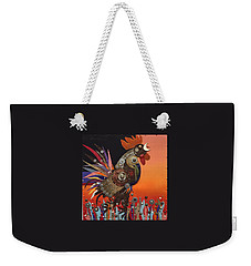Weekender Tote Bag featuring the painting Barnyard Gladiator by Bob Coonts