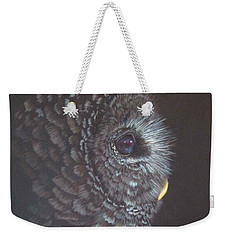 Weekender Tote Bag featuring the drawing Barred Owl 2 by Laurianna Taylor