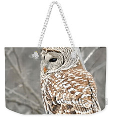 Barred Owl Close-up Weekender Tote Bag by Kathy M Krause