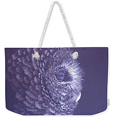 Weekender Tote Bag featuring the drawing Barred Owl by Laurianna Taylor