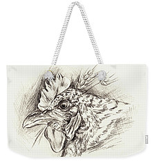 Barred Rock Hen With Wheat In Charcoal Weekender Tote Bag by MM Anderson