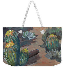 Weekender Tote Bag featuring the painting Barrel Cactus At Tortilla Flat by Diane McClary