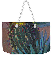 Barrel Cactus In Bloom - Boyce Thompson Arboretum Weekender Tote Bag by Diane McClary