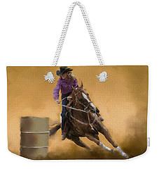 Barrel Racing Weekender Tote Bag by Kathie Miller