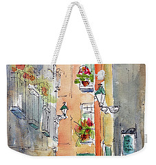 Weekender Tote Bag featuring the painting Barrio Gotico Barcelona by Pat Katz
