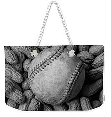 Weekender Tote Bag featuring the photograph Baseball And Peanuts Black And White Square  by Terry DeLuco