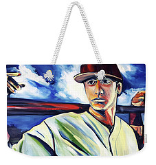 Weekender Tote Bag featuring the painting Baseball Crucifix by John Jr Gholson