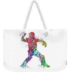 Baseball Softball Catcher 3 Watercolor Print Weekender Tote Bag