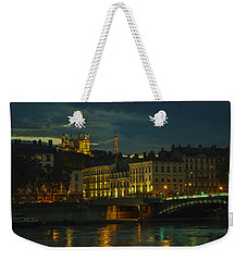 Weekender Tote Bag featuring the photograph Basilica Notre Dame De Fourviere From Across The Rhone River by Allen Sheffield