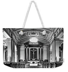 Weekender Tote Bag featuring the photograph Basilica Of Saint Louis King - Black And White by Nikolyn McDonald