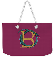 Weekender Tote Bag featuring the digital art Basilisk Letter B by Donna Huntriss