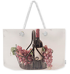Basket Of Wine And Grapes Weekender Tote Bag by Sherry Hallemeier