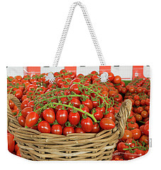 Weekender Tote Bag featuring the photograph Basket With Red Tomatoes by Hans Engbers