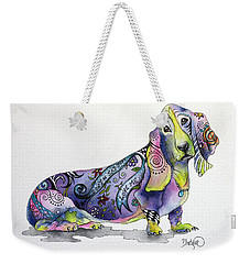 Weekender Tote Bag featuring the painting Basset Hound Horace by Patricia Lintner