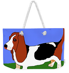 Cartoon Basset Hound In The Yard Weekender Tote Bag