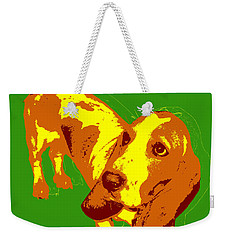 Weekender Tote Bag featuring the digital art Basset Hound Pop Art by Jean luc Comperat
