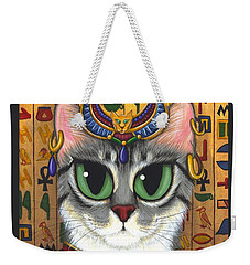Weekender Tote Bag featuring the painting Bast Goddess - Egyptian Bastet by Carrie Hawks