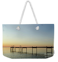 Weekender Tote Bag featuring the photograph Bath Pier Silhouette by Kennerth and Birgitta Kullman