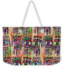 Batik Hamsa Coral Weekender Tote Bag by Sandra Silberzweig