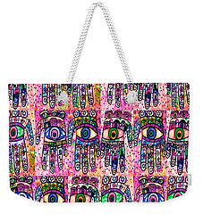 Batik Hamsa Pink Weekender Tote Bag by Sandra Silberzweig