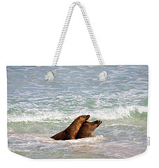 Battle For The Beach Weekender Tote Bag by Mike  Dawson