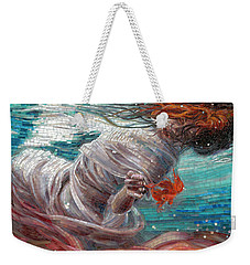Weekender Tote Bag featuring the painting Batyam by Mia Tavonatti