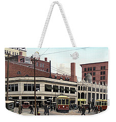 Weekender Tote Bag featuring the painting Bay And Queen Streets C1940 by Kenneth M Kirsch