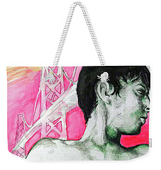 Weekender Tote Bag featuring the painting Bay Bridge Anf Figure In Red by Rene Capone