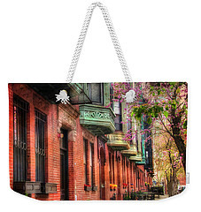 Bay Village Brownstones And Cherry Blossoms - Boston Weekender Tote Bag by Joann Vitali